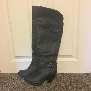 Rue 21 Black Sariah Knee High Heeled Boots L8/9